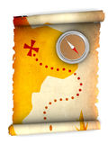 Treasure map. 3d illustration of rolled treasure map and compass royalty free illustration