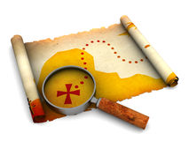 Treasure map. 3d illustration of treasure map and magnify glass Stock Photos