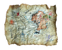 Treasure Map. Old treasure map that is on faded old parchment Stock Photos