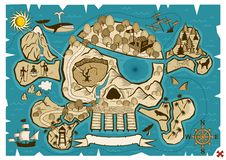Treasure Map. Map of treasure island in the shape of skull and bones. Use the X in the lower right corner to mark the place of the treasure. No transparency and stock illustration