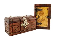 Treasure Map. Medieval wooden treasure map and a chest isolate on white Royalty Free Stock Images