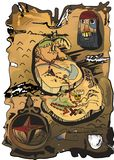 Treasure map. Illustration of the old map Royalty Free Stock Images