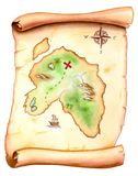 Treasure map. Old map showing a treasure island. Hand painted illustration Royalty Free Stock Image