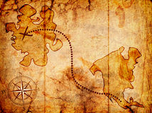 Treasure map. With a compass on it Stock Photo