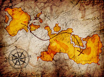 Treasure map. With a compass on it Stock Photos