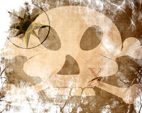 Treasure map. Old paper texture with treasure map and skull Stock Images