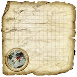 Treasure map. Compass illustration depicted on blank treasure map