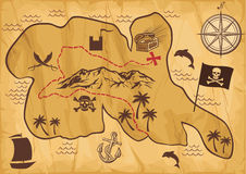 Map of treasure island Stock Photo