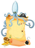 A treasure map with a big octopus Stock Photography