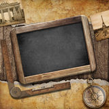 Treasure map, blackboard and old compass. Nautical still life Stock Image