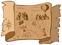 Treasure map on brown paper Stock Photo