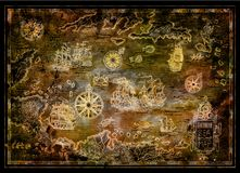 Treasure map of Caribbean Sea with pirate sailboats, compasses, islands on black. Decorative antique background with nautical chart, adventure treasures hunt Royalty Free Stock Photos
