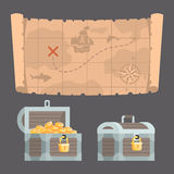 Treasure map and chest with gold Royalty Free Stock Photo