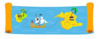 Treasure map colorful vector horizontal banner vector illustration