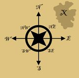 Treasure map and compass Stock Images