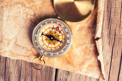 Treasure map with compass Royalty Free Stock Photos