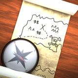 Treasure map with compass Royalty Free Stock Photography