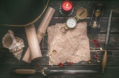 Treasure map with copy space mock up. Pirate table. Pirate captain table with crumpled paper page with copy space for treasure map, golden compass, sand watch royalty free stock photography