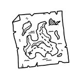 Treasure Map Doodle. A hand drawn vector doodle illustration of a worn out treasure map royalty free illustration