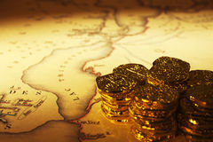 Treasure Map and Doubloons Stock Photography