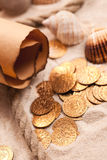Treasure map and golden coins. The treasure map and golden coins Royalty Free Stock Images