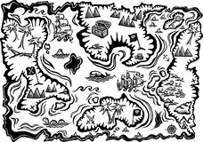 Treasure Map. A hand drawn, black and white sketch of a pirate treasure map vector illustration