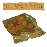 Treasure Map icon. The vector illustration of treasure map for game presentation, user interface tablet, smart phone Stock Photo