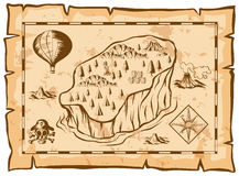 Treasure map with island and balloon. Illustration vector illustration