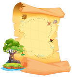 A treasure map with an island Royalty Free Stock Photos