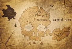 Treasure map. Treasure island old pirate map Royalty Free Stock Photo