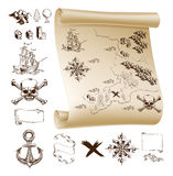 Treasure map kit. Example map and design elements to make your own fantasy or treasure maps. Includes mountains, buildings, trees, compass, ship skull and Royalty Free Stock Photo