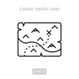 Treasure map. Linear  icon. Icon of the treasure map in a linear style Stock Photo