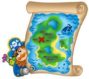 Treasure map with lurking pirate. Color illustration Royalty Free Stock Images