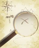 Treasure Map And Magnifying Glass Royalty Free Stock Images