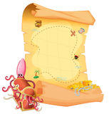 A treasure map and an octopus inside the treasure box Royalty Free Stock Photos