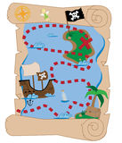 Treasure Map. Old pirate ship buried treasure map Stock Images