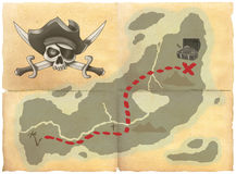 Treasure map. Old treasure map with pirate skull Royalty Free Stock Photos