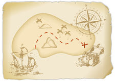Treasure Map. Old treasure Map with an sailing ship and an compass Stock Image