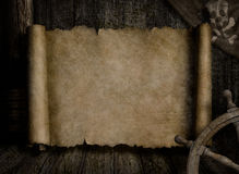 Treasure map over other pirates accessories Royalty Free Stock Photo