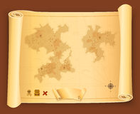 Treasure Map On Parchment Scroll Royalty Free Stock Photography
