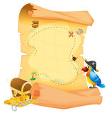A treasure map with a parrot stock illustration