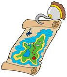 Treasure map with pirate hook. Illustration Stock Photos