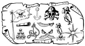 Treasure map with pirate symbols Stock Images