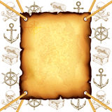Treasure map and pirates symbols vector background Royalty Free Stock Photo
