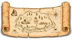 Treasure map on roll paper. Illustration vector illustration
