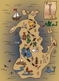 Treasure map and scroll. Pirate Map of Treasure Island illustration color with scheme of road Stock Image