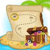 Treasure map and treasure chest on island Royalty Free Stock Photo