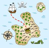 Treasure map. Vector illustration of a hand-drawn treasure map royalty free illustration