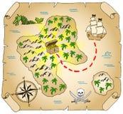 Treasure map. Vector illustration of a hand-drawn treasure map Stock Image