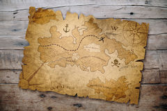 Treasure map on wooden table vector illustration